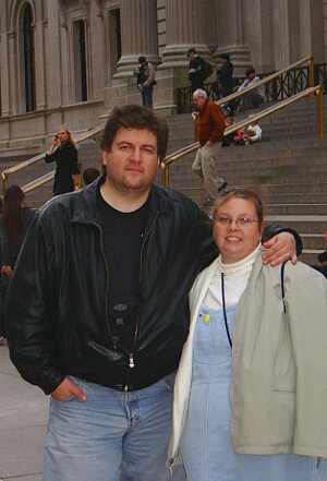 John and Jennifer O'Keefe outside of the Museum of Natural History in Manhattan, New York, when he was thirty-seven years old
