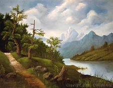 Landscape oil painting entitled 'Lakeside Path' by John O'Keefe