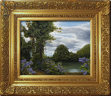 Giclee on Canvas with Frame LXIV002-G titled 'Lilac Pond' by John O'Keefe Jr.
