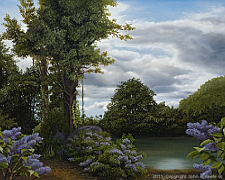 Landscape oil painting entitled 'Lilac Pond' by John O'Keefe