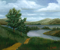 Landscape oil painting entitled 'New England River' by John O'Keefe