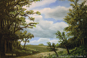 Landscape oil painting entitled 'Path Out Of The Woods' by John O'Keefe