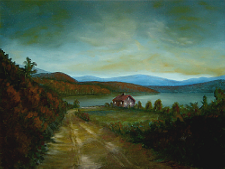 Landscape oil painting entitled 'Peaceful Connecticut Valley In Autumn' by John O'Keefe