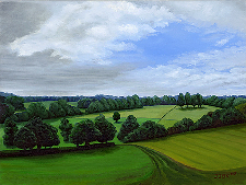 Landscape oil painting entitled 'Peaceful Hills' by John O'Keefe