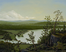 Landscape oil painting entitled 'River Through The Adirondacks' by John O'Keefe