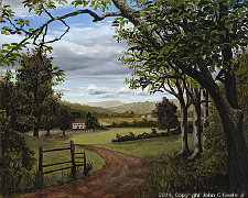 Landscape oil painting entitled 'Summer In The Valley' by John O'Keefe
