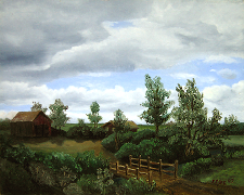 Landscape oil painting entitled 'The Bridge Home' by John O'Keefe