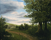 Landscape oil painting entitled 'The Road Home' by John O'Keefe