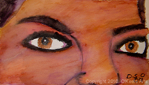 Watercolor painting by Danielle O'Keefe - portrait of a friend - Dian's eyes