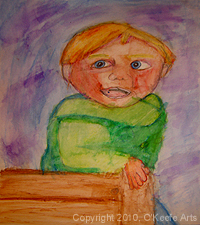 Watercolor painting by Danielle O'Keefe - portrait of a her brother - Joshua