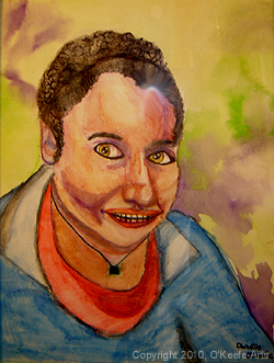 Watercolor painting by Danielle O'Keefe - portrait of a friend - Nora