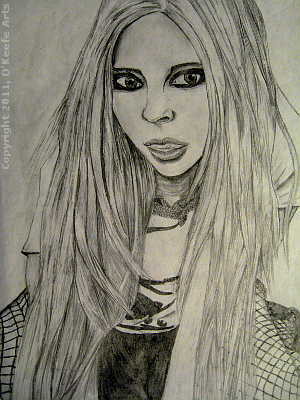 Graphite Drawing by Danielle O'Keefe - Avril Lavigne