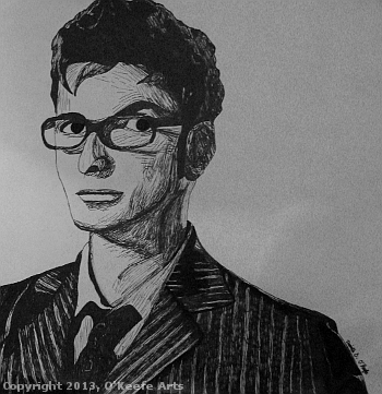 Sharpie Drawing by Danielle O'Keefe - 10th Doctor Portrait (David Tennant)