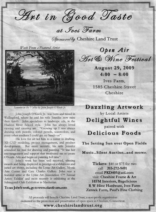 cheshire herald press release for 'art in good taste' fundraiser