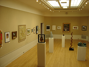 Visiting the gallery - 'Summmer on the Valley' on left