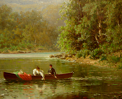 Hudson River School painting entitled 'The Boating Party' by George W. Waters - Detail view #1