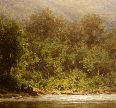 Hudson River School painting entitled 'The Boating Party' by George W. Waters - Detail view #2