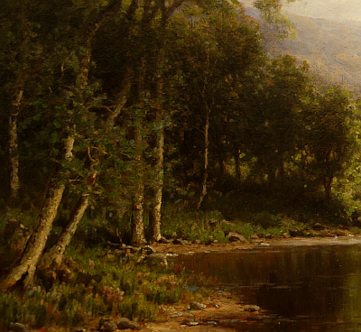 Hudson River School painting entitled 'The Boating Party' by George W. Waters - Detail view #3