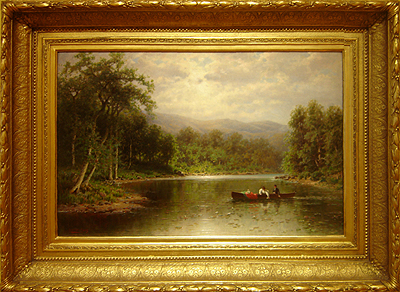 Hudson River School painting entitled 'The Boating Party' by George W. Waters