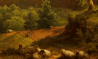 Hudson River School painting entitled 'Sunday Morning' by Asher Brown Durand - Detail view #17