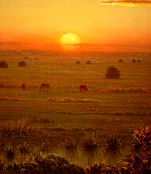 Hudson River School painting entitled 'Ipwich Marshes' by Martin Johnson Heade - Detail View #1