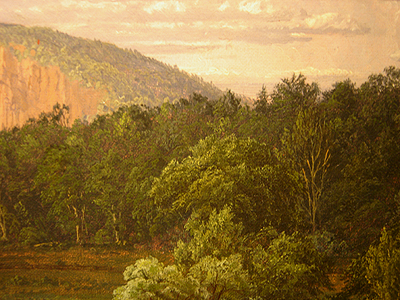 Hudson River School painting entitled 'West Rock, New Haven' by Frederic Edwin Church - Detail view #1
