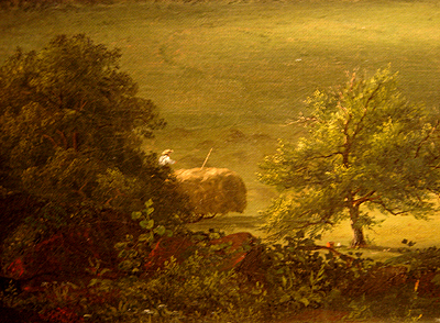 Hudson River School painting entitled 'West Rock, New Haven' by Frederic Edwin Church - Detail view #2