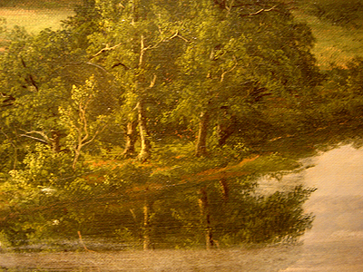 Hudson River School painting entitled 'West Rock, New Haven' by Frederic Edwin Church - Detail view #5