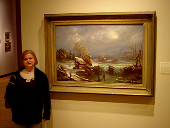 Hudson River School painting entitled 'Midwinter Moonlight' by Francois Gignoux