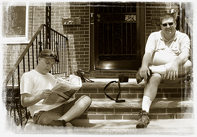 John O'Keefe and Joshua hanging out on the front stoop