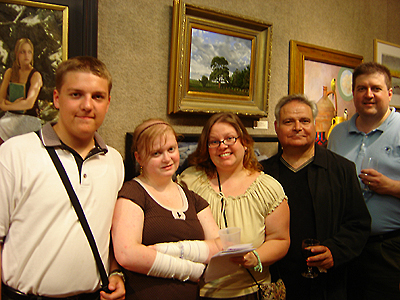 Salmagundi Club reception - Joshua, Danielle, Jennifer, and John O'Keefe with Ernie Sterlacci