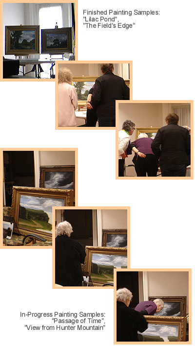 People viewing John O'Keefe's landscape paintings