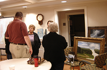 John O'Keefe meeting and talking with members of Cheshire Art League