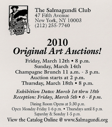 The Salmagundi Club's 2010 Spring Exhibition and Auction - brochure back