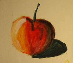 John O'Keefe's early watercolor of an apple, created when he was nine or ten years old