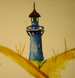 John O'Keefe's early watercolor of a light house, created when he was nine or ten years old