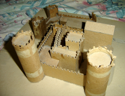 John O'Keefe's castle made from cardboard (another view), created when he was ten or eleven years old