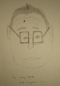 John O'Keefe's early pencil drawing of his grandfather, created when he was seven years old