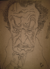 John O'Keefe's early pencil drawing of Vincent Price, created when he was seven or eight years old
