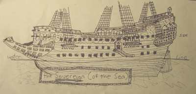 John O'Keefe's pen & ink drawing of the Spanish warship 'Soveriegn of the Sea', created when he was ten or eleven years old