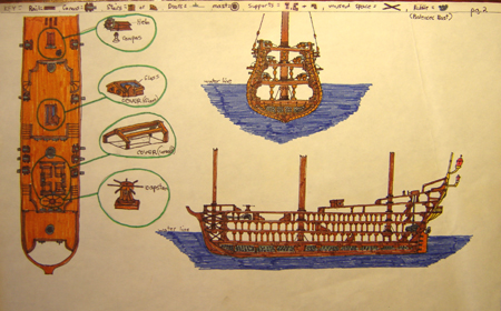 John O'Keefe's drawing in colored markers of an old sail powered warship deck plan, created when he was ten or eleven years old