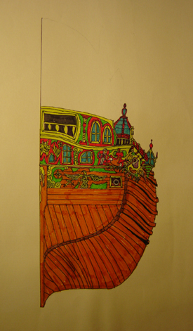 John O'Keefe's drawing in colored markers of an old sail powered warship, closeup aft view, created when he was ten or eleven years old