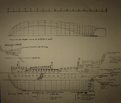 John O'Keefe's drawing of an old sail powered warship construction plan, created when he was ten or eleven years old