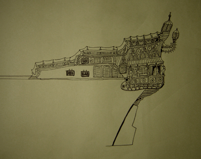 John O'Keefe's pen & ink drawing of an old sail powered warship, closeup aft detail, created when he was ten or eleven years old
