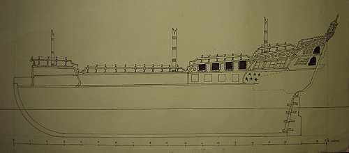 John O'Keefe's pen & ink drawing of an old sail powered warship construction plan, created when he was ten or eleven years old