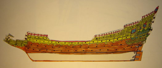 John O'Keefe's drawing in colored markers of an old sail powered warship contruction plan, created when he was ten or eleven years old