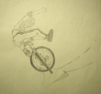 John O'Keefe's pencil drawing of a freestyle bike trick on a quarter-pipe, created when he was fourteen years old