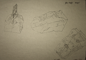 John O'Keefe's pencil drawing study of brown paper bags, created when he was fourteen years old