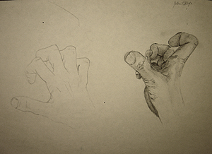 John O'Keefe's pencil drawing study of his hand, created when he was eleven to thirteen years old