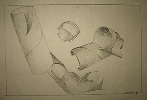 John O'Keefe's pencil drawing study of cardboard tubes, created when he was eleven to thirteen years old